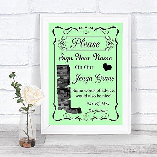 Letrero de boda personalizable con libro de invitados de Jenga verde: Amazon.es: Oficina y papelería