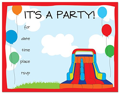 24 Bounce House Fill-in Kids Birthday Party (Beach Ball Birthday Invitations)