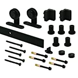 Prime-Line N 7555 Heavy Duty Barn Door Track Kit, Smooth Rolling, Top Mount, Matte Black
