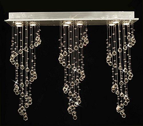Modern Chandelier Rain Drop Lighting Crystal Ball Fixture Pendant Ceiling Lamp H31 X W39 X D10, 9 Lights, Free Shipping