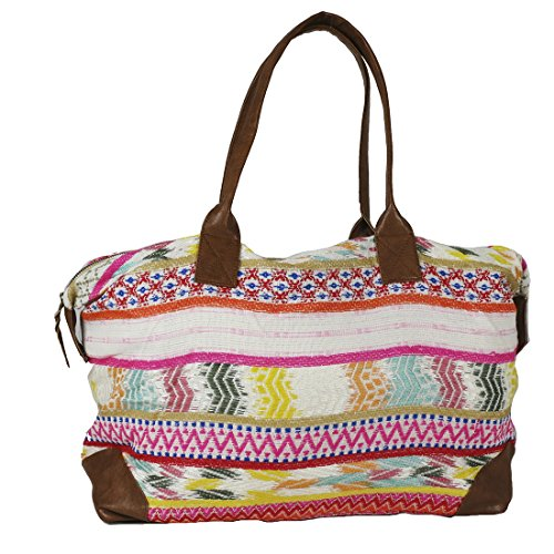 Raj Pink Multi Ethnic Print Duffle Bag Weekender with Leather by Raj Imports