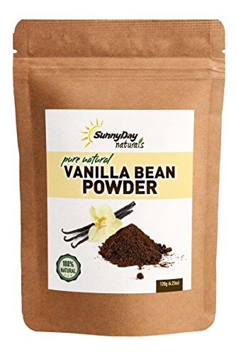 Vanilla Bean Powder, 4.23 Oz - Raw Ground Vanilla Bean - Unsweetened, Gluten-Free - EXTREMELY FRESH - Ground Moments Before Packaging! by Sunny Day Naturals