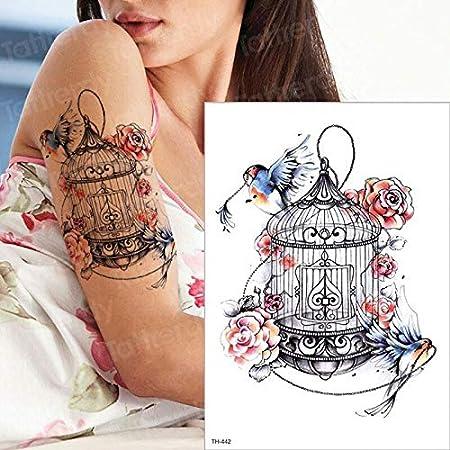 tzxdbh Manga Temporal Impermeable Tatuaje del Brazo pájaros Jaula ...