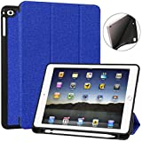 iPad 9.7 Case with Apple Pencil Holder - Slim Lightweight Protective Smart Cover - Tri-Fold Stand with Auto Wake/Sleep for 2018/2017 Apple iPad 9.7 inch - 5th and 6th Generation - Blue
