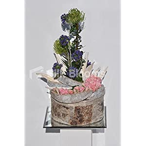 Real Touch Roses, Allium & Pincushion in Wooden Vase Arrangement 2