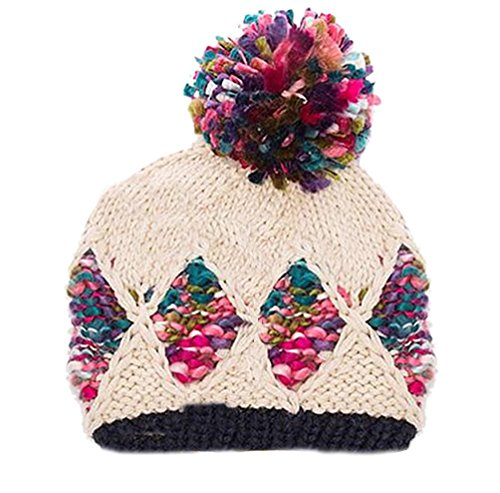 """Price comparison product image BIBITIME Handmade Knitted Hat Cap Winter Warm Pompom Beanie for Girl or Women (Adult-Beige, 24""""-25"""")"""