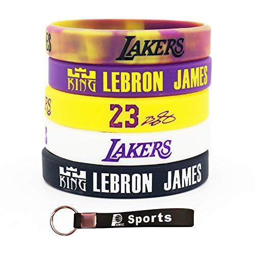 AMIC Silicone Wristband Bracelet -5PCS Assorted Color (Yellow Purple) (Hat Bracelet)