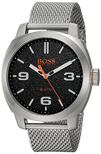 HUGO BOSS Men's 'CAPE TOWN' Quartz Stainless Steel Casual Watch, Color:Silver-Toned (Model: 1550013) Boss Orange White Rubber