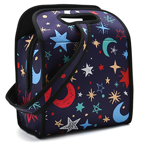 Neoprene Lunch Bag -Insulated Bento Bag With Zipper And Strap For Boys Girls Kids Teen & Adults. For Lunch Tote, Lunch Box, Food Container to School, Work (Nice Stars & Moon) ()