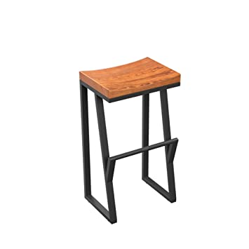 QZz Tabourets Vintage Bar Chaise Fer En Bois Solide Tabouret Creative Haute