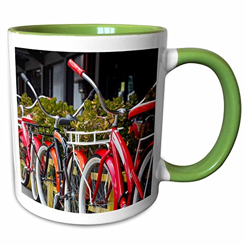 3dRose Danita Delimont - Bicycles - Australia, Victoria, Melbourne, South Wharf, bicycles outside. - 11oz Two-Tone Green Mug - Melbourne Wharf