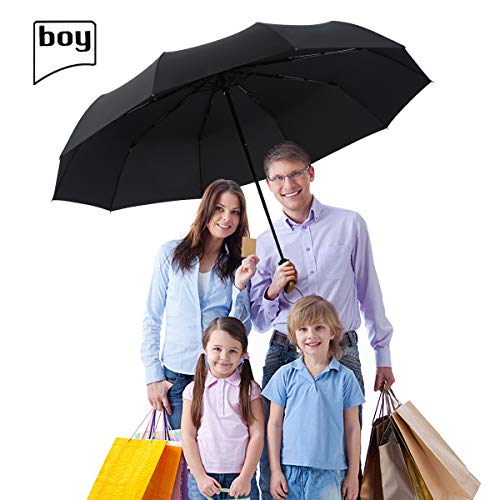 boy TF Golf Umbrella, Extra Large Canopy Windproof Umbrella 10 Reinforced Ribs, Automatic Windproof Vented Fast Drying Travel Umbrella