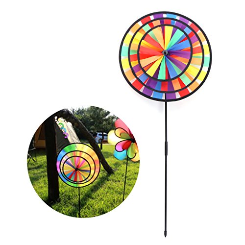 EA-STONE Triple Wheel Rainbow Windmill,DIY Colorful Wind Spinner Windmill For Kids Toy Home Garden Yard Outdoor Decoration (Generator Rainbow Wind)