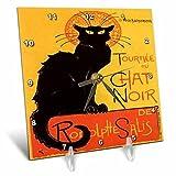 3dRose dc_24933_1 Cats Le Chat Noir-Desk Clock, 6 by 6-Inch