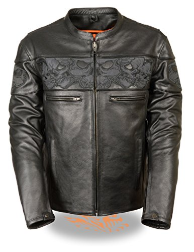 Milwaukee Leather Men's Crossover Stand Up Collar Motorcycle Jacket w/ Reflective Skulls w/ Two Inside Gun Pockets (X-Large)