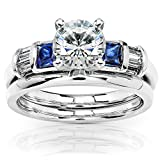 Round Moissanite Bridal Set with Sapphire and Diamond 2 CTW 14k White Gold