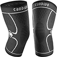 Cambivo Knee Brace Support(2 Pack), Knee Compression Sleeve for Running, Hiking, Basketball, Soccer, Tennis, Relieving...