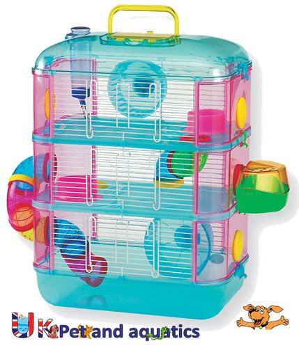 Hamster Cage, Three Storey, With Tubes, Lazy Bones. (Blue)