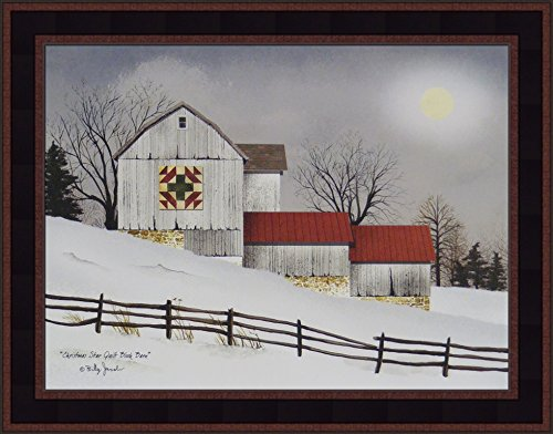 (Christmas Star Quilt Block Barn by Billy Jacobs 15x19 Barn Full Moon Snow Primitive Folk Art Wall Décor Framed Picture)