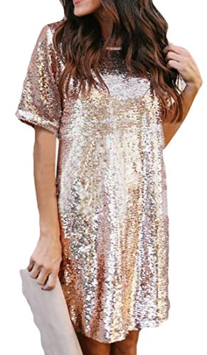 (CRYYU Women T-Shirt Longline Dress Short Sleeve Sequins Loose Fit Tunic Dresses Aspic US M)