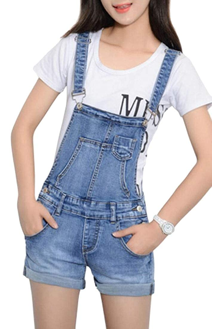 Alion Women Casual Ripped Distressed Denim Overall Shorts Romper