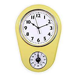 Slash Retro Vintage Old Fashioned 8.5 Inch Kitchen Wall Clock With 60 Minutes Timer (Milky Yellow)