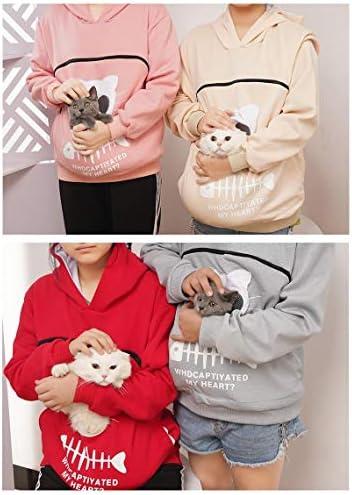 パーカー 猫抱っこ用 にゃんガルーパーカー 猫入れポケット付き 通気 窓付き 猫耳フード トレーナー