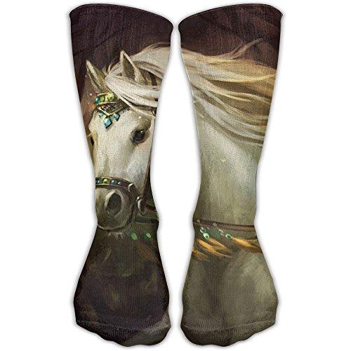 Amazing White Horse Men Women's Casual Athletic Stoking 30CM Crew Long Socks