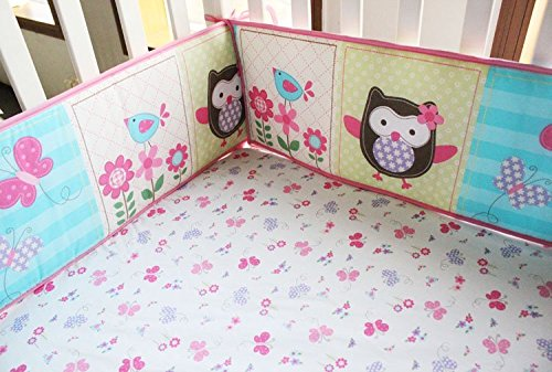 NAUGHTYBOSS Girl Baby Bedding Set Cotton 3D Embroidery Owl Bird Quilt Bumper Bedskirt Fitted Urine bag 8 Pieces Set Pink Color by NAUGHTYBOSS (Image #5)
