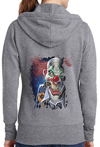 Womens Joker Clown Full Zip Hoodie, Athletic Heather, 4X