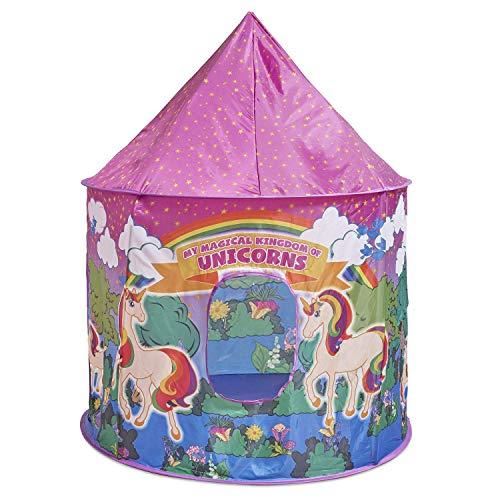 Glittles Unicorn Tent for Girls - Unicorn Pop Up Kids Tent, Unicorn Toys for Girls Indoor Princess Castle Kids Play Tent (Pink & Purple) (Pink Purple Tent)