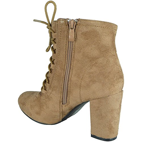 Loud Look Ladies Faux Suede Zip High Block Heel Ankle Boots Size 3-8 Khaki vP0gvOw
