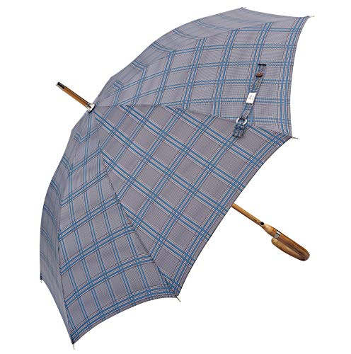 Balios (Designed in Britain) Prestige Walking Stick Umbrella—Luxury Chestnut Wood Crook Handle—Bamboo Shaft—Windproof Fiberglass Frame—Auto Open-300T Finest Fabric (Glen Plaid) ()