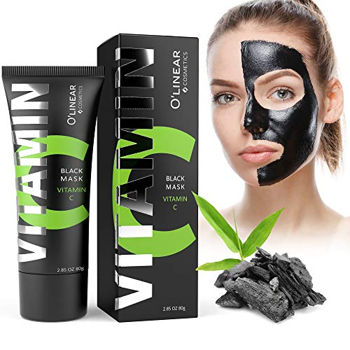 Black Charcoal Mask - Face Peel Off Mask with Organic Bamboo and Vitamin C - Deep Cleansing Pore Blackhead Removal and Purifying Black Mask for Men and Women (The Best Blackhead Removal Mask)