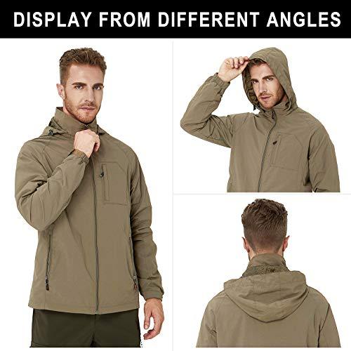 RAISEVERN Water-Resistant Sports Shell Jacket Men Windbreaker Khaki Jacket Outdoor Lightweight Casual Jacket Hood for Daily,Travel XL