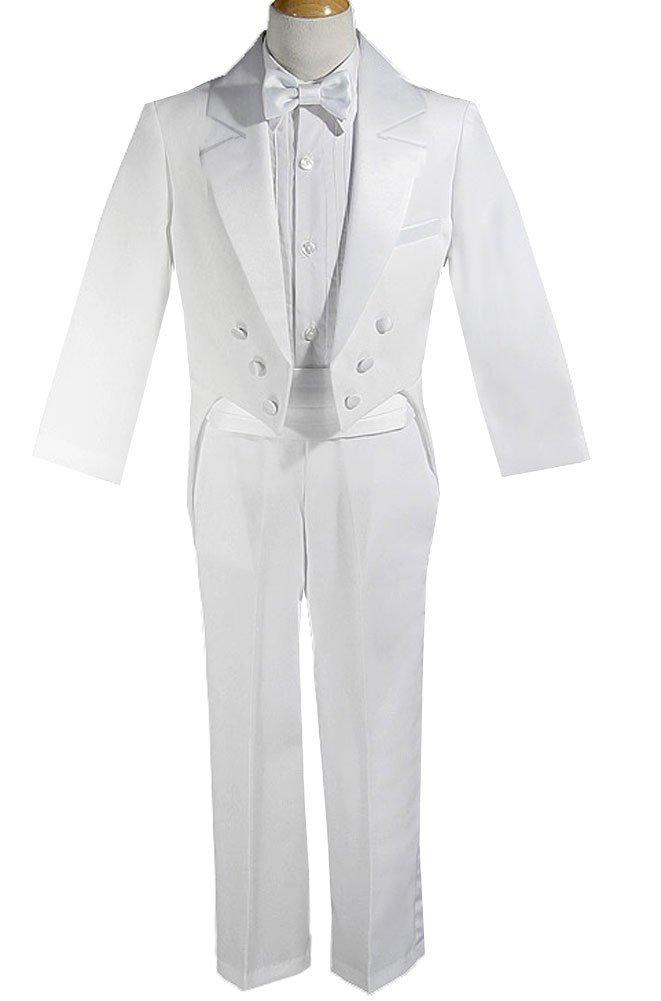 AMJ Dresses Inc Big Boys 5 Pieces Boys Wedding Tuxedo W/tail