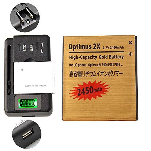 Gold Extended LG Optimus 2x P990 High Capacity Battery FL-53HN + Universal Battery Charger With LED Indicator For LG Marquee Ignite LS855 / LG Enlighten VS 700 / LG Optimus Slider VM701 / LG Optimus Zip L75C / LG Optimus Black P970 2450 mAh (Lg Optimus Slider Cover)