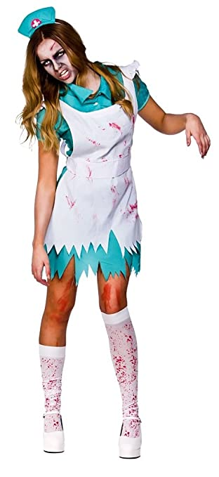 bd4032534703d Bloodthirsty Zombie Nurse + Stockings Halloween Ladies Fancy Dress Adult  Costume (Women: 18-20): Amazon.co.uk: Toys & Games