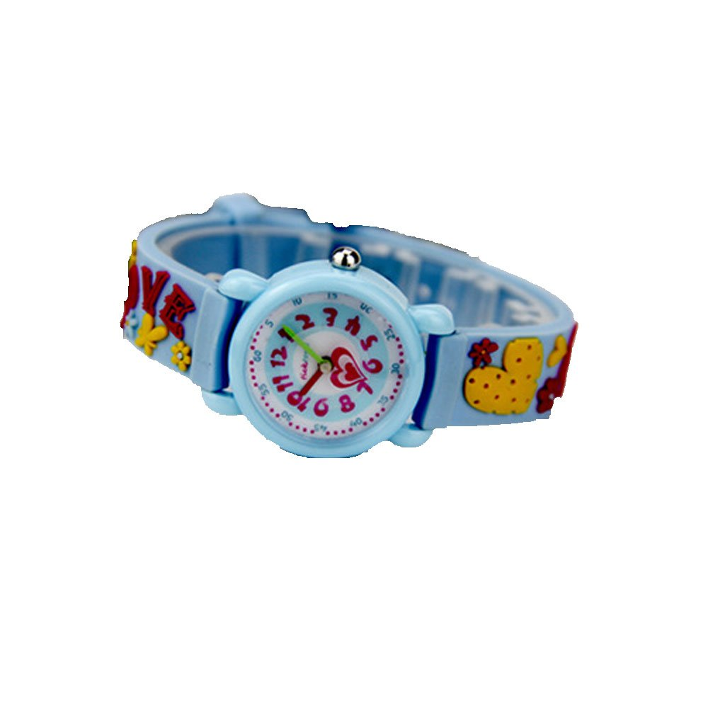 Xmas Gift for Children,Jian Ya Na Lovely Cartoon Children Watch,Silicone Strap Digital Round Quartz Wristwatches for Girls Boys Kids (Blue(3D Love )) by Jian Ya Na (Image #1)