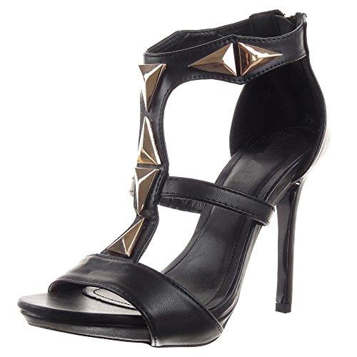 Sopily - Scarpe da Moda scarpe decollete sandali Stiletto cinturino alla caviglia donna borchiati Tacco Stiletto tacco alto 11.5 CM - Nero