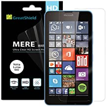 GreatShield Microsoft Lumia 640 [3 pack] Screen Protector - [HD Ultra Clear] [MERE Mark II] Smooth Transparent Shield Film [Lifetime Replacement Warranty]