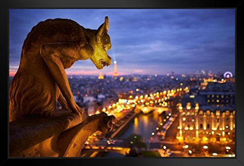 Notre Dame Cathedral Pictures - Notre Dame Cathedral Gargoyle Paris at Night Photo Art Print Framed Poster 20x14 inch