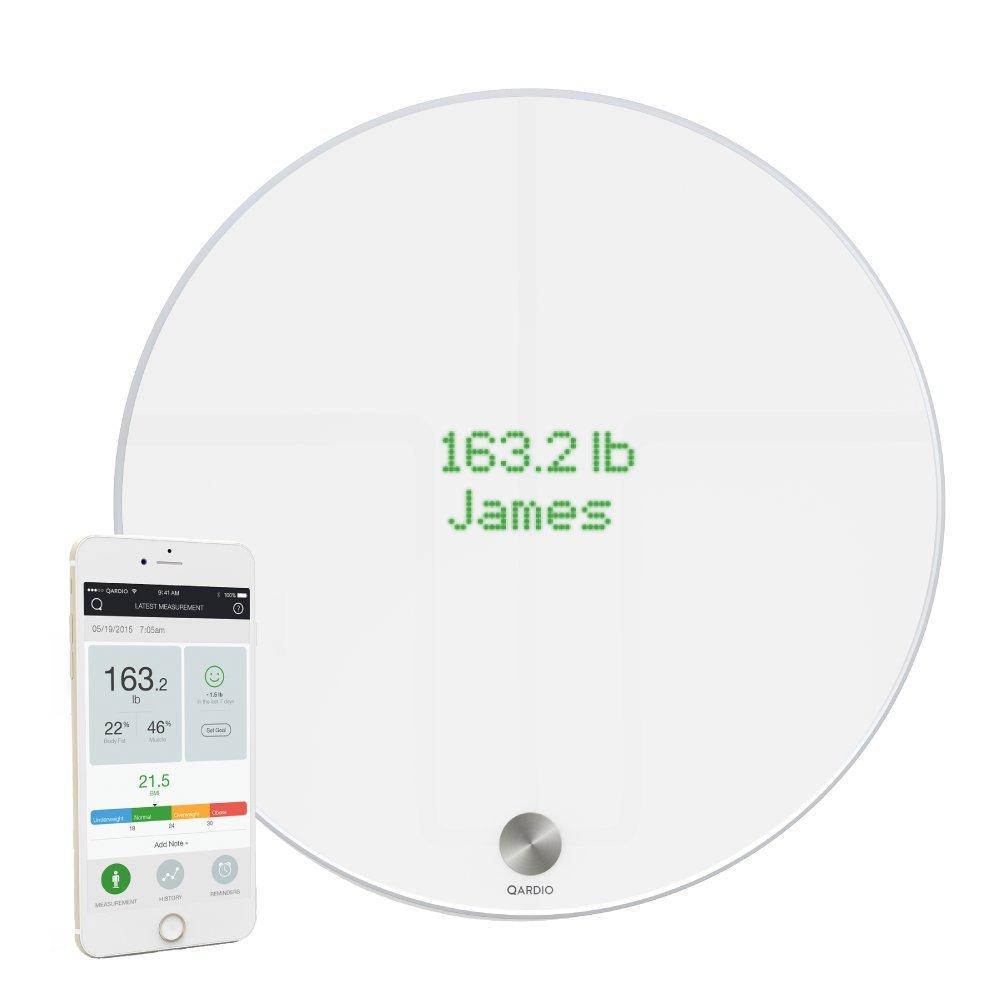 QardioBase Smart Digital Bathroom Scale: Qardio Fitness, BMI, Weight & Body Composition Analyzer - Bluetooth & WiFi Sync with App, Opal White