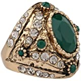 Vintage Mens Woman Gold Inlaid Green Stone Crystal Female Ring Size 7 8 9 10 (7)