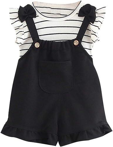 Dinlong Infant Baby Kid Girl Stylish Striped Sleeveless T-Shirt+Suspenders Pocket Shorts Outfits Set