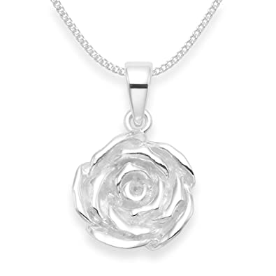 Sterling Silver Rose Flower Pendant Necklace On Chain Please Choose Length Below Satin