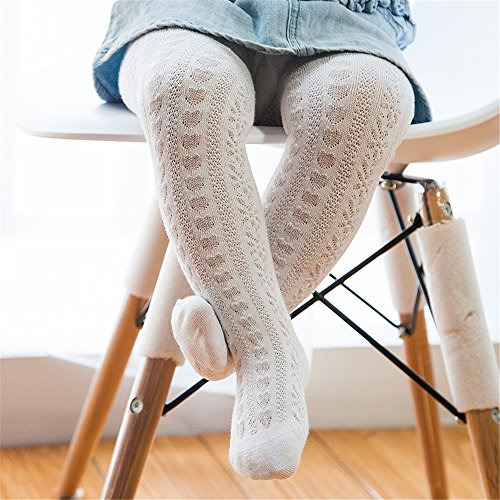Girls Fashion Tights (Cute Baby Child Girl Toddler Fashion Cotton Mesh Net Pattern Tights Pack of 1pair Size L White)
