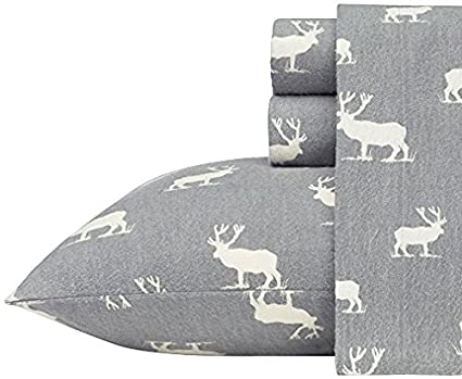 82db05eb7584c Amazon.com: Eddie Bauer Elk Grove Flannel Sheet Set, Twin, Gray ...