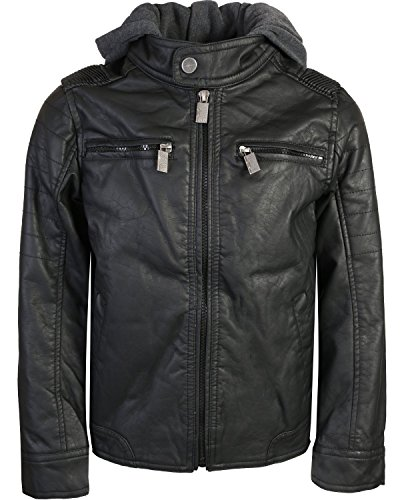 Urban Republic Boys Faux Leather Jacket with Fleece Hoodie, Black w/Grey Hood, 10/12'
