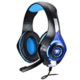 BlueFire Professional 3.5mm PC LED Light Gaming Bass Stereo Noise Isolation Over-ear Headset Headphone Earphones Headband with Mic Microphone For SONY PS4 Laptop Computer - Volume Control(Blue in Black)